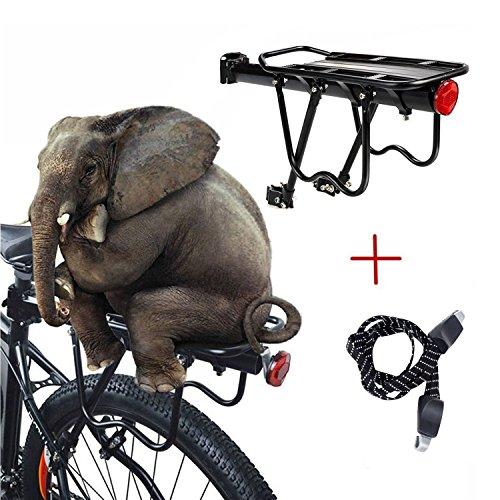 Outdoo 160 Lb Capacity Sturdy Rear Bike Rack Universal Adjustable Luggage Shelf with Triple Elastic Bike Strap