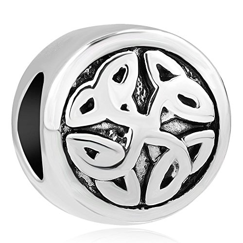 - ReisJewelry Irish Celtic Knot Charms Vintage Classic European Beads Charm For Bracelets (Round Celtic Knot)