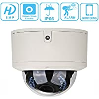 UNITECH 5MP Security Dome IP Camera 2.8-12 mm Vari-focus Lens HD 1080P IR Night Vision POE H.265/H.264 ONVIF Surveillance & Security Cameras