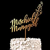 Mischief Managed Harry Potter Cake Topper Wood Rustic Wedding Decor Bridal Shower Gift Anniversary Party Decoration 1 piece