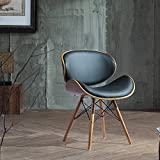 Madonna Mid-century Black Bonded Leather Walnut Finished Accent Chair