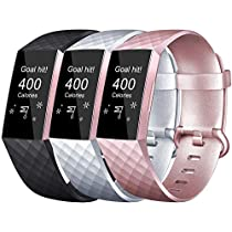 Tobfit Bands Compatible with Fitbit Charge 3, Classic Sport Wristbands Accessory Small Large Adjustable Replacement Strap for Fitbit Charge 3 (3 PCS-01 Navy Blue+Wine+ Mint Green, Small)