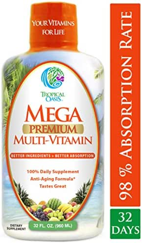 Mega Premium Liquid Multivitamin -Natural Anti Aging Multi-Vitamin w/20 Vitamins, 70 Minerals, 21 Amino Acids, CoQ10 & Organic Aloe Vera- Orange Flavor- 98% Absorption- 32 Serv