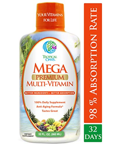 (Mega Premium Liquid Multivitamin -Natural Anti Aging Multi-Vitamin w/20 Vitamins, 70 Minerals, 21 Amino Acids, CoQ10 & Organic Aloe Vera- Orange Flavor- 98% Absorption- 32 Serv)