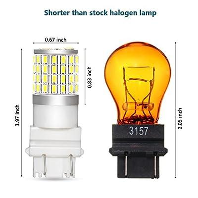 Phinlion 2000 Lumens 3157 LED Light Bulb Super Bright 3014 72-SMD High Power 3156 3057 3457 4057 4157 3157 LED Bulbs for Backup Reverse Brake Tail Turn Signal Lights, 6000K Xenon White: Automotive