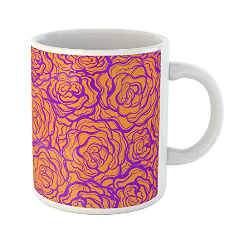 Block China Rose Garden (Semtomn Funny Coffee Mug Bright Seamless Pattern with Roses Colorblock Abstract Art Backdrop Background 11 Oz Ceramic Coffee Mugs Tea Cup Best Gift Or Souvenir)