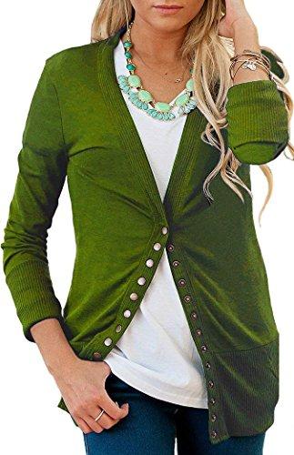 ... Aswinfon Casual Vert Cardigans Hiver Boutons Col Avec Veste Femme Pull  Longue Chic V Gilet Tricot ... 1ec4039d1f0a