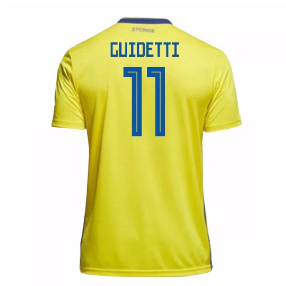 2018-19 Sweden Home Football Soccer T-Shirt Trikot (John Guidetti 11)