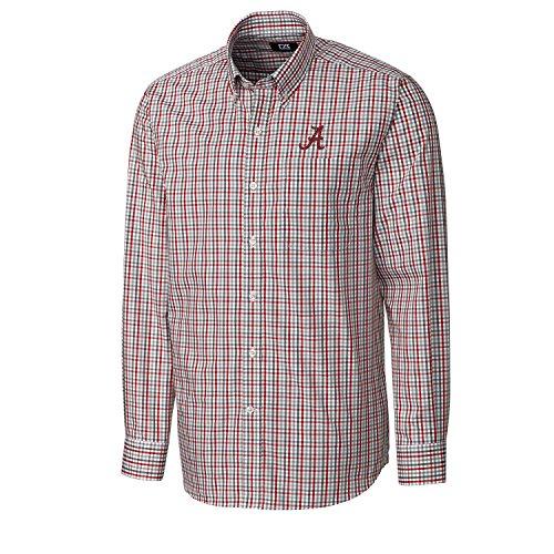 Cutter & Buck Embroidered Dress Shirt - Cutter & Buck NCAA Alabama Crimson Tide Men's Long Sleeve Gilman Plaid Shirt, Medium, Cardinal Red