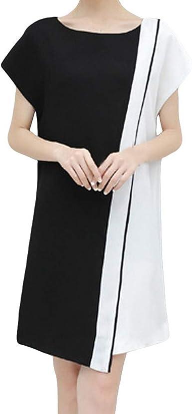 TUDUZ Mujer Vestidos Manga Corta Verano Vestido de Costura a Rayas ...