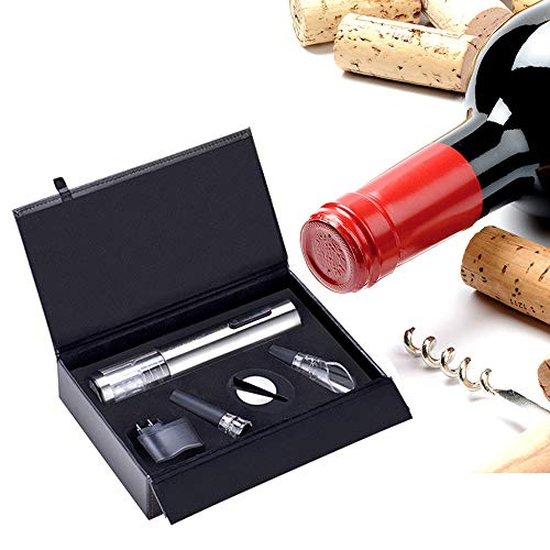 ZYG.GG Electric Bottle Opener, Rechargeable Wine Opener, Professional Electric Corkscrew Wine Accessories with Foil Cutter, Vacuum Stopper, Pourer and USB Charger Cable, Stainless Steel by ZYG.GG (Image #5)