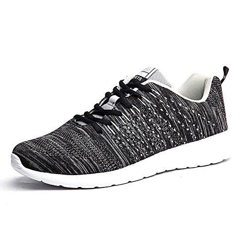 Turnschuhe Mesh EU Freizeit A Schwarz Bequeme Sportschuhe Straßenlaufschuhe Sneakers Laufschuhe BAINASIQI Fitness Herren 43 qgZ8aZE