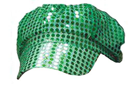 (Windy City Novelties Women's Green Sequined Newsboy Cabbie Costume)