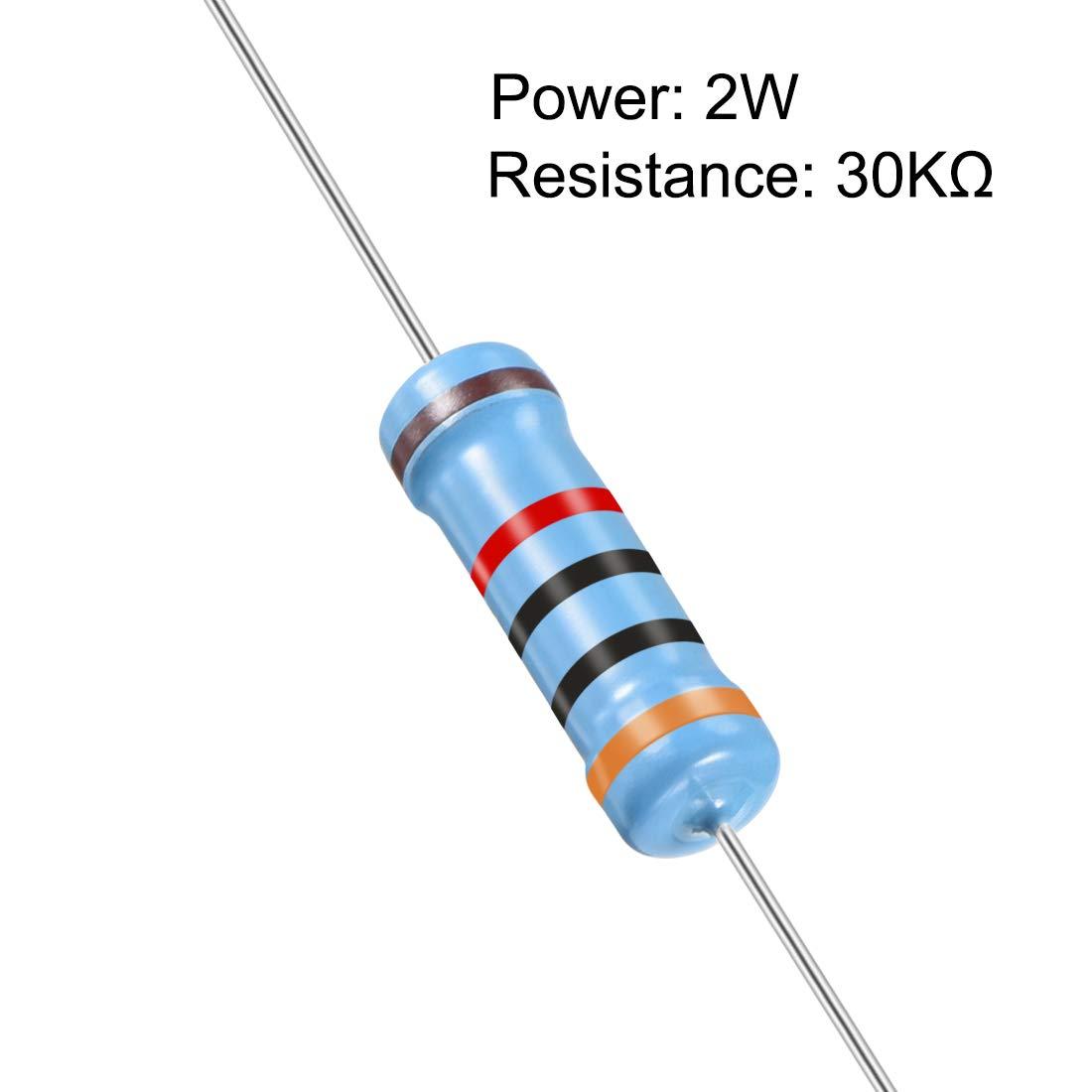 Metallschichtwiderst/ände Sourcing Map 30 St/ück 30 K Ohm Widerstand 5 B/änder f/ür DIY-Projekte und Experimente axiales Kabel 2 W 1/% Toleranz