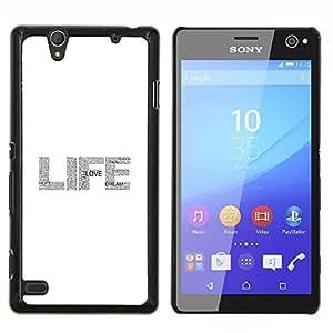 Vida texto del brillo del blanco gris de la chispa- Metal de aluminio y de plástico duro Caja del teléfono - Negro - Sony Xperia C4 E5303 E5306 E5353