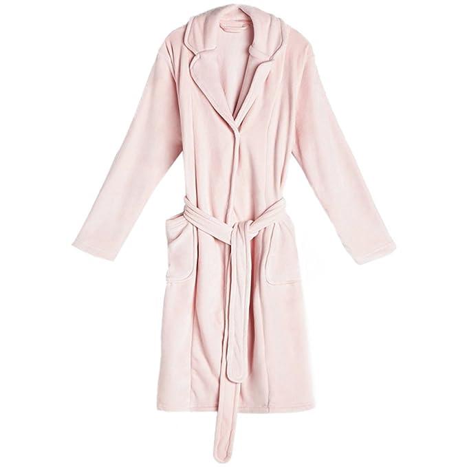 Pijama Mujer Largo Bata Algodón Rosa Invierno Espesar Largo Sexy Keep Warm Pijamas Adulto Albornoz: Amazon.es: Ropa y accesorios