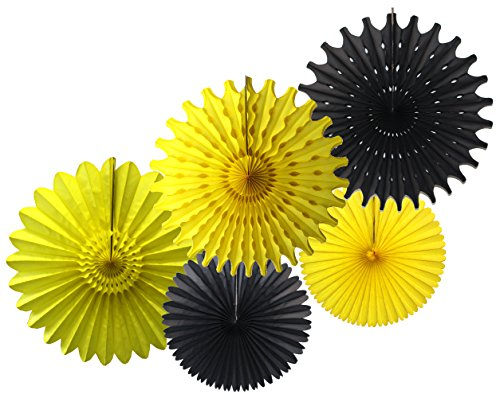 Tissue Paper Fan Collection - 5 Large Assorted Fans (Bumblebee - Black, Yellow, 18 and 13 inches)