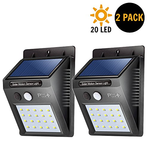PeakPlus Solar Lights 20 LED With Motion Sensor [2 Pack] Wall Light - Super Bright Waterproof Wireless Security Outdoor Light With Motion Activated Auto ON/OFF For Patio, Deck, Yard, Step, Garden