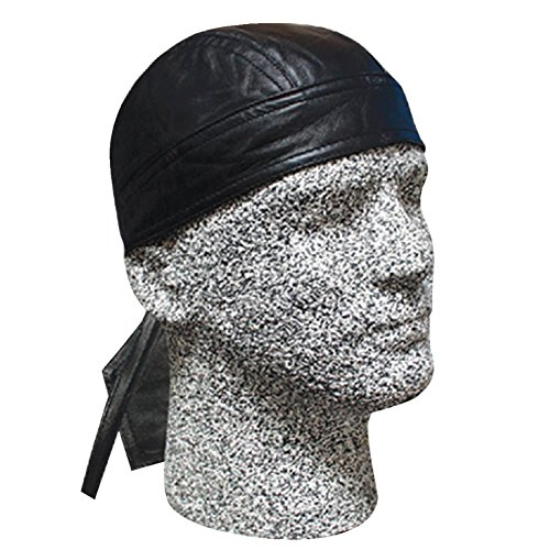 's Leather Wrap Danbanna Bandana Sport Hat Cap Black (Hot Leathers Leather Hat)