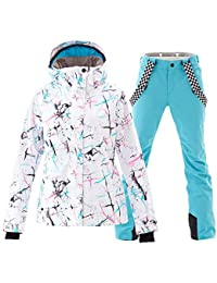 Women's Ski Jackets and Pants Set Windproof Waterproof Snowsuit