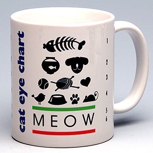 11 oz. Personalized Whimsical Cat Eye Chart Ceramic Coffee/Tea Mug ~ perfect for a cat or pet ()