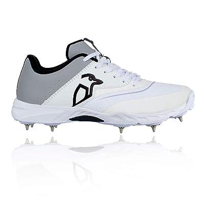 KOOKABURRA Unisex's 2027 KC 3.0 Spike Cricket Shoe White/Grey, Size 11: Sports & Outdoors