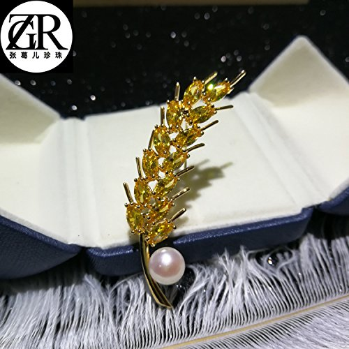 (Zhang Ge child temperament wheat freshwater pearl corsage brooch pin pin harvest a sleek clothing accessories)