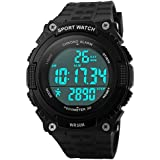 Gosasa Easy Read Waterproof Sports Watches Men Women Army Military Watch Stopwatch 3D Pedometer Led Digital Wristwatch Black