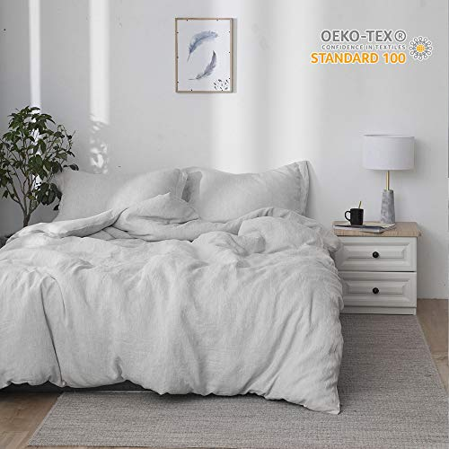 Simple&Opulence 100% Linen Stone Washed 3pcs Basic Style Solid Duvet Cover Set (Queen, Grey) (100 Linen Bedding)
