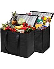 NZ Home XL Insulated Reusable Grocery Bags, Sturdy Zipper, Foldable, Washable, Heavy Duty, Stands Upright (2 Pack, Black)
