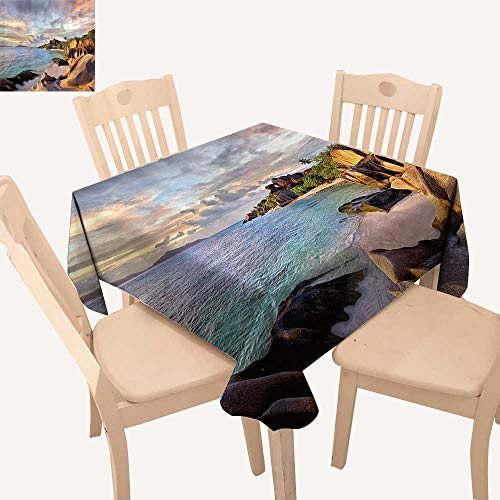 UHOO2018 100% Polyester Tablecloth Tropical Rock Sandy ACH Sunin Island with Majestic Sky Light Earth Square/Rectangle Multicolor,52x 52 inch