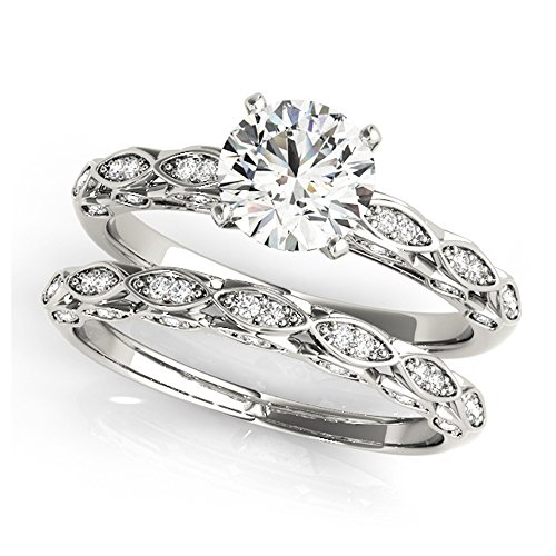 14K White Gold Unique Wedding Diamond Bridal Set Style MT51044