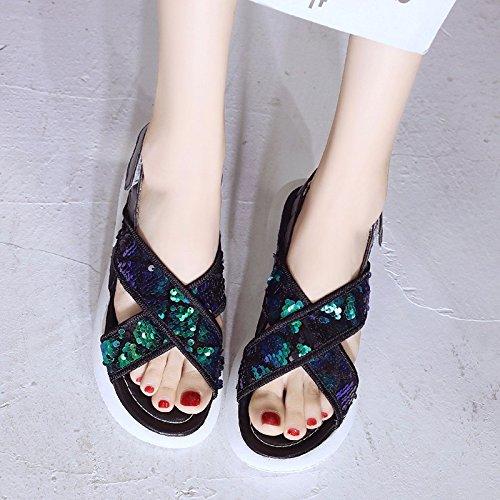 Zapatos Nuevas white De Mujer Bizcocho Fondo Sandalias De Versión para De Verano Coreana Deportivas Mujeres Zapatos Plano qqEawSr