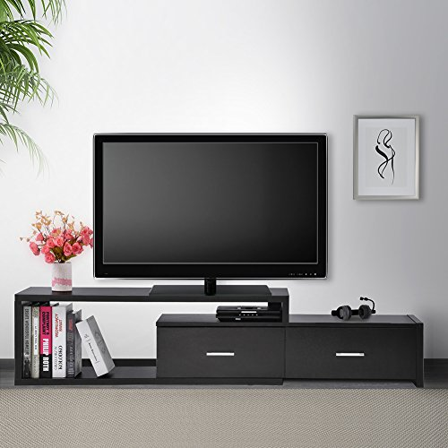 Ej. Life Extendable TV Stand Cabinet Wood TV Unit with 2 Drawers, Black by Ej. Life