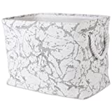 DII Collapsible Polyester Storage Basket or Bin with Durable Cotton Handles, Home Organizer Solution for Office, Bedroom, Closet, Toys, & Laundry (Medium – 14x8x9''), White Marble