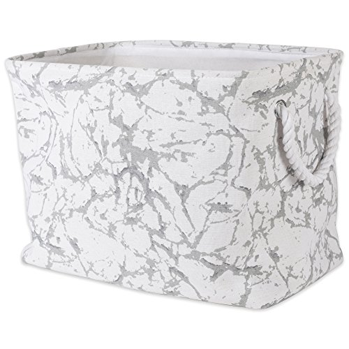 DII Collapsible Polyester Storage Basket or Bin with Durable Cotton Handles, Home Organizer Solution for Office, Bedroom, Closet, Toys, & Laundry (Medium – 14x8x9''), White Marble by DII