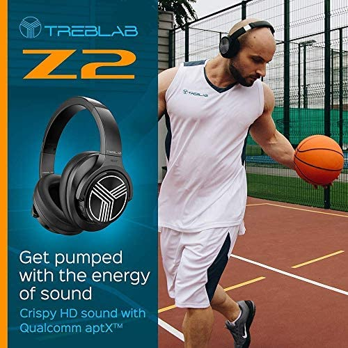 TREBLAB Z2 | Over Ear Workout Headphones with Microphone | Bluetooth 5.0, Active Noise Cancelling (ANC) | Up to 35H Battery Life | Wireless Headphones for Sport, Workout, Running, Gym (Black) 51Kd2a3yAeL