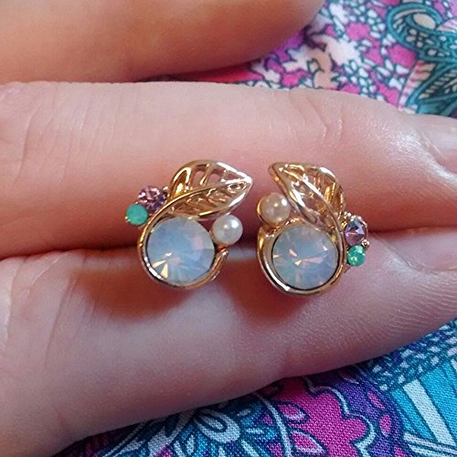 Beauty Lovely Elegant Small Jewelry Rhinestone Leaves Stud Earrings Crystal
