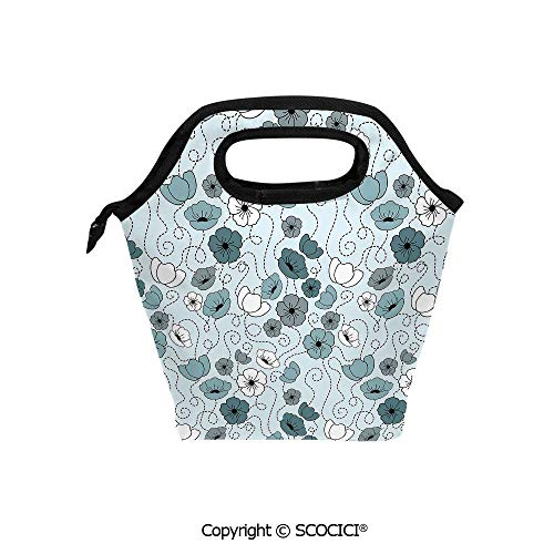 Reusable Printed Design Lunch Bag Doodle Drawing Style Floral Arrangement Botany Spring Summer Season Daisies Decorative Lunch Tote bag for Work and School.