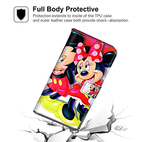 Wallet Case with Kickstand Compatible for Samsung Galaxy S9 Plus (2018) [6.2in] Mickey and Minnie in Love Hd Wallpaper for Mobile Phones and laptops Shockproof