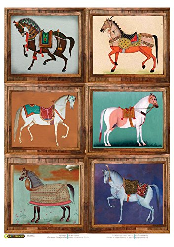 ~ 11,1 x 15,11 inches Bright extraordinary horses Rice paper for decoupage Made in Russia