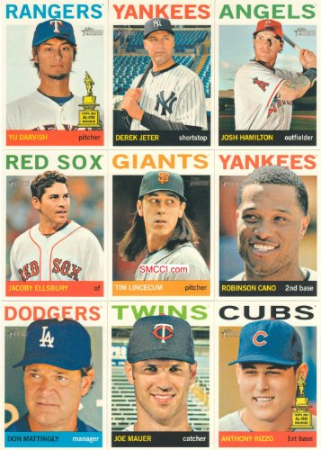 2013 Topps Heritage Baseball Complete Mint Basic 425 Card Hand Collated Set; It Was Never Issued in Factory Form, Based Upon Topps' Classic 1964 Design! Loaded with Stars Including Derek - 1964 Topps Baseball