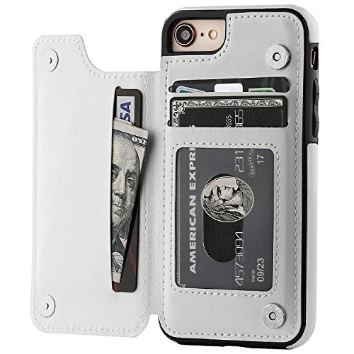 iPhone 8 Wallet Case with Card Holder,OT ONETOP iPhone 7 Case Wallet Premium PU Leather Kickstand Card Slots,Double Magnetic Clasp and Durable Shockproof Cover 4.7 Inch (iPhone 7/iPhone 8 White)