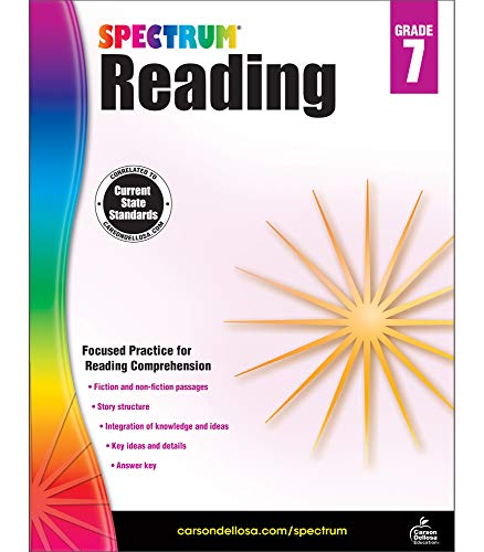 Spectrum Paperback Reading Workbook, Grade 7, Ages 12-13