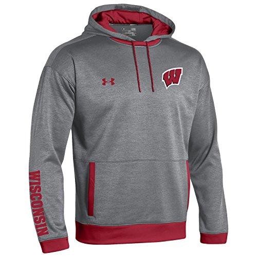 Under Armour NCAA Wisconsin Badgers Men's Momentum Sideline Storm Fleece Hoodie, XX-Large, Gray