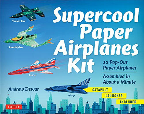 Supercool Paper Airplanes Kit: 12 Pop-Out Paper Airplanes Assembled in About a Minute: Kit Includes Instruction Book, Pre-Printed Planes & Catapult Launcher