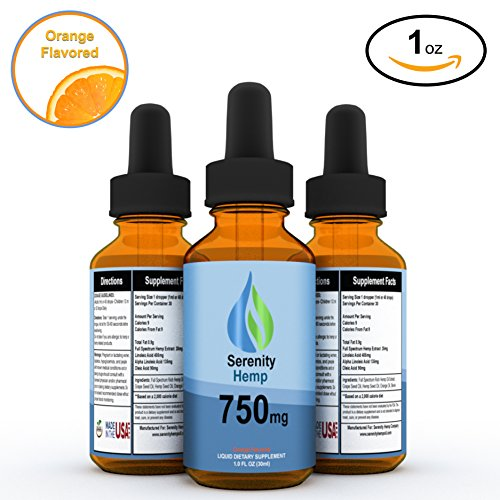Serenity Hemp Oil - 1 fl oz 750 mg (Orange) - Certified Organic - Relief for Stress, Inflammation, Pain, Sleep, Anxiety, Depression, Nausea - rich in Vitamin E, Vitamin B, Omega 3,6,9 and MORE! by Serenity Hemp Company