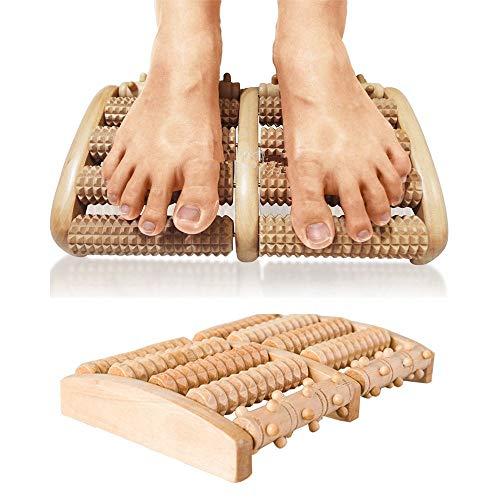 Vogvigo Wooden Roller Massager Foot Massage Tool Sauna Accessory Stress Relief Relax Massage Accessory Foot Roller Foot Massager 5 Rows