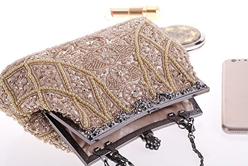 Bag Bead Formal Navy Pearl Handle Evening Prom Clutch Wedding Top Embroidery Hand Vintage PnqfawqOS