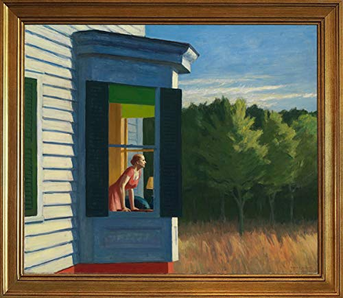 - Berkin Arts Classic Framed Edward Hopper Giclee Canvas Print Paintings Poster Reproduction(Cape Cod Morning) #JK